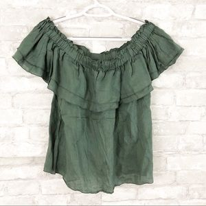 Young Fabulous & Broke Olive Green Linen Blouse